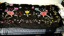 Vintage Silk Piano Scarf/Shawl Embroidered w/Vibrant Flowers w/Long Fringe! WOW