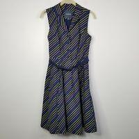 Modcloth Its An Inspired Taste Shirtdress S Navy Diagonal Stripes