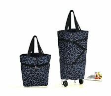 Collapsible Trolley Folding Reusable Shopping Bags Wheels Carrying Handles Black