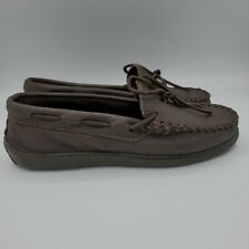 Minnetonka Women's Sz 8.5 Moccasin Brown Leather Mocs Lace Up Loafers Flats $99