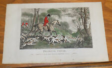 1794 Antique COLOR Fox Hunting Print///DRAWING COVER by J. Wheble