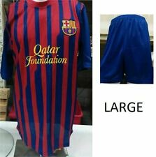 New FC Barcelona Jersey and Short Set, Size Large,  Qatar Foundation Edition.