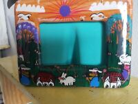 VTG Mexican Folk Art Pottery Picture Frame VILLAGE ORANGE Turquoise