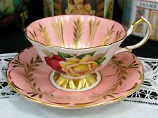 QUEEN ANNE RED & WHITE ROSES FANCY GOLD DETAILS PINK TEA CUP AND SAUCER
