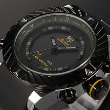 Goblin Shark Men's LED Digital Silicone Date Day Quartz Sport Black Yellow Watch