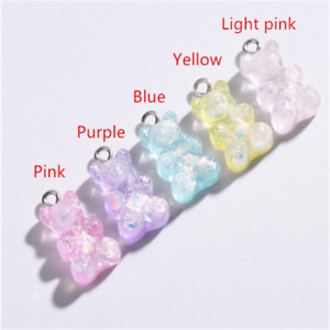 20X Resin Charms Glitter Bear Pendant Earring necklace jewelry accessory 16*10mm