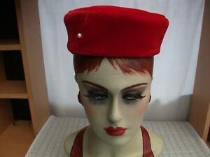 EDWARD MANN vintage 1960's Red Velvet pillbox hat + hat pin VGC
