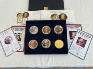 Queen Elizabeth II Duke of Edinburgh 6 x Gold Plated Medal Coins NumisProof