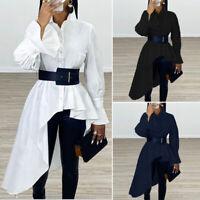 Womens Long Flouncing Sleeve Asymmetric Hem Lapel Shirt Casual Loose Top Blouse