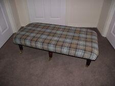 New Lana pale green tartan foot stool xl coffee table footstool dark castor leg