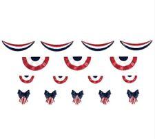 New Lemax 16 Piece American Flag House Decoration Set Bows Swag Trim #84371