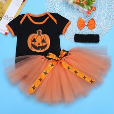 Halloween Newborn Baby Girls Romper Tutu Skirt Pumpkin  Headband Costumes Outfit