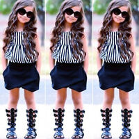 Toddler Kids Baby Girls Outfits Striped T-shirt Tops+Shorts Pants Clothing Set