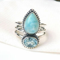 Solid 925 Sterling Silver Natural Larimar Blue Topaz Ring, Larimar Jewelry-S162