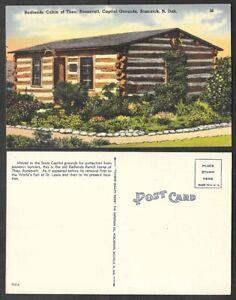 Old North Dakota Postcard - Bismark - Badlands Cabin of Teddy Roosevelt
