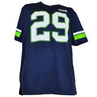 NFL Seattle Seahawks Game Jersey Tshirt V Neck Navy Blue Mens Adult Short Sleeve