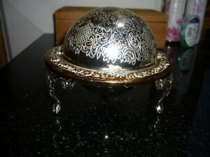 Vintage Engraved Globe, Silver Coloured Ashtray / Dish, very attractive.