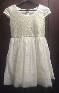 Girls Gold Sequin Cream Capped Sleeve Party Dress