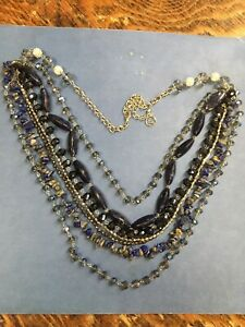 Erica Lyons Lapis, Crystal Glass 7 Strand Bead Necklace Runway Worthy!