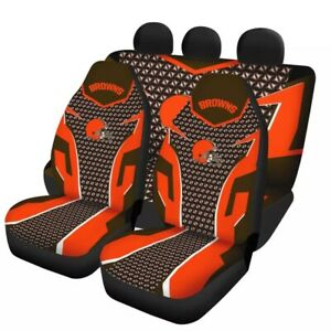 Cleveland Browns Car Front Rear Seat Covers Universal Auto 5 Cushion Protectors