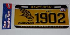 HAWTHORN HAWKS, PLASTIC NOVELTY NUMBER PLATE, OFFICIAL AFL MERCHANDISE