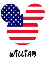 Disney American Flag Mickey Personalized Fabric/T-Shirt Iron On Transfer