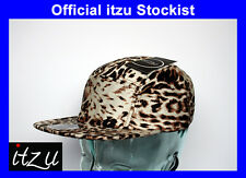RARE - I Z Co - LEOPARD PRINT - 5 Panel Clasp Leather Snapback Cap Snap Back