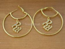 ROCAWEAR & CIRCLE RHINESTONE GOLD JUMBO HOOP PAIR EARRINGS