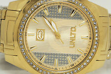 NEW MARC ECKO E15014G1 THE RIFF GOLD TONED STEEL CRYSTAL WATCH