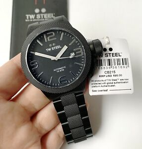 TW Steel Watch * CB215 Canteen 45MM Automatic Black PVD Steel COD PayPal NO BOX