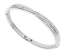 Cross Cuff Bangle Bracelet Silver With Crystals Ladies Gift Free Uk Delivery