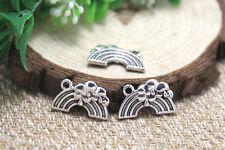 20pcs rainbow Charms, Antique Tibetan silver rainbow Charm pendants 19x12mm