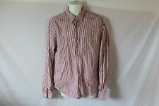 Men's Red & White Abercrombie & Fitch Striped Casual Dress Shirt - Size L