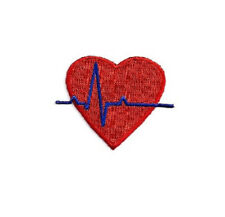 EKG Heart  - Medical - Nurse - Doctor -Fully Embroidered Iron On Applique Patch