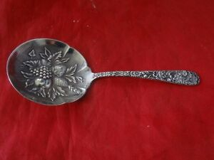 Antique S.Kirk & Son Sterling Silver Repousse Serving Bon Bon Spoon