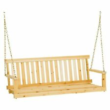 Wood Porch Swing 4 Feet Adirondack Style Classic Hanging Bench Patio Garden Seat