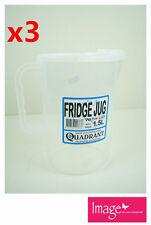 3pcs Fridge Jug With Lid 1.5L Plastic Clear Transparent Cup Jug Q113838