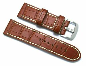 26mm Brown HQ Alligator Leather Replacement Watch Band for Invicta or Big Watch