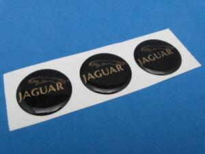 JAGUAR LOGO DOMED DECAL EMBLEM STICKER SET OF THREE #039 BLACK