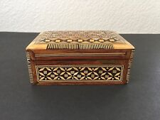 Vintage Mosaic Mother of Pearl & Bone Inlay Wood Jewelry Trinket Marquetry Box