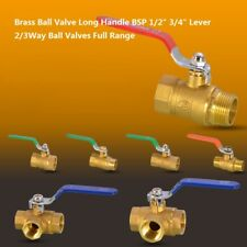 "Brass Ball Valve Long Handle Ball Valves Full Range BSP 1/2"" 3/4"" Lever 2/3 Way"