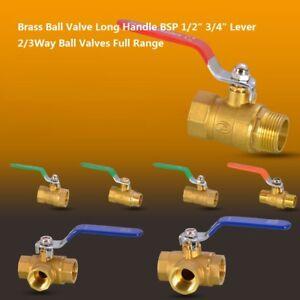 """Brass Ball Valve Long Handle BSP 1/2"""" 3/4"""" Lever 2/3Way Ball Valves Full Range"""