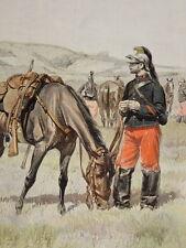 GRANDE Gravure UNIFORME Edouard DETAILLE 14e REGIMENT CUIRASSIER CAVALERIE 1885