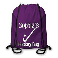 Personalised Cotton Named Hockey Drawstring Bag, Field Hockey Ice Kit Bag CSB113