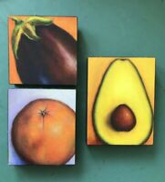 3 Signed Small Original Paintings on Board Avocado Eggplant Orange Outsider Art