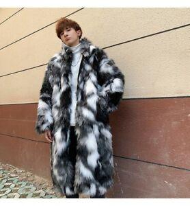 Winter Men's Faux Fox Fur Jacket Outwear Parka Warm Thick Padded Coat Overcoat