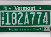 """VERMONT 2015 license plate """"182A774"""""""