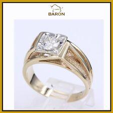 MENS RING 0.75 CARAT  14K YELLOW GOLD ESTATE MEN DIAMOND RING  SIZE 10