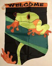New listing Welcome Forest Frog Garden Pond Lake Spring Summer Applique Large Yard Flag New