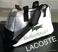 LACOSTE WHITE MENS GYM TRAVEL OVERNIGHT BAG Green Crocodile New & SEALED